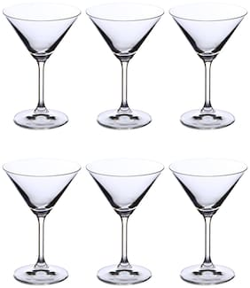 Bohemia Crystal martini Glass set, Non Lead Crystal Lara Martini Glass(210ml) set of 6pcs s