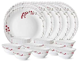 Larah Opalware Dinner Sets - Set of 18 , White