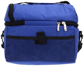 Large Capacity Insulated Square Lunch Bag Cooler Tote Carry Bags Travel Bento Box with Adjustable Shoulder Strap (Dark Blue)