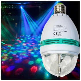 Laser Light Disco Party Bulb 360 Rotate 6W White Color (Pack of 1)