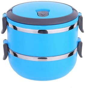 Lavi 2 Containers Stainless steel Lunch Box - Blue