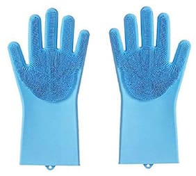 Lavimo Gloves With Wash Scrubber Non-Slip Magic Gloves For Household Cleaning Great For Protecting Hands In Dishwashing Car Washing