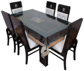 LAVIMO PVC DINNING TABLE COVER WITH GOLDEN BORDER ( 60 X 90 inch )