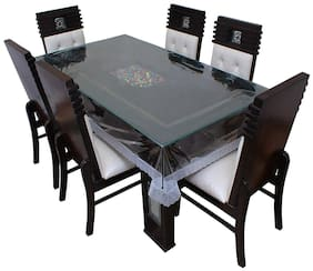 LAVIMO PVC transparent dinning table cover silver border 6 seater