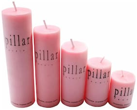 Laxantra Scented Decorative Rose Pillar Set of 5 Love Candle  (Pink, Pack of 5)