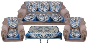 Laying style Premium Sofa Cover Set 5 Seater with Center Table Cover Cloth for Living Room (11 pcs), Blue