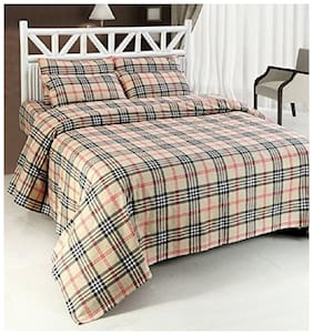 Laying Style Double Cotton Brown Checks Duvet Cover