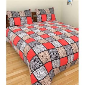 Laying Style Cotton Floral Double Size Bedsheet ( 1 Bedsheet With 2 Pillow Covers , Multi )
