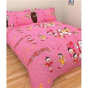 Laying Style Multicolor Floral Cotton Double Bedsheet with 2 Pillow Covers