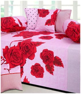 Laying Style Pink Floral Cotton Diwan Set Pack Of 8