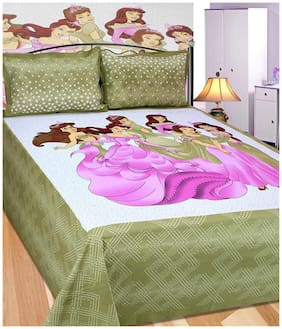 Laying Style Multicolour Printed Cotton Double Bedsheet with Two Pillow Covers