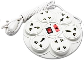 Leavess 8+1 Round Extension Board,6 AMP Multi plug point Extension Cord  Assorted Color