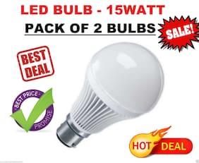 LED BULB 15WATT - 2 BULBS PACK - WHITE, COOL, SAFE LIGHT, HIGH QUALITY LED BULB