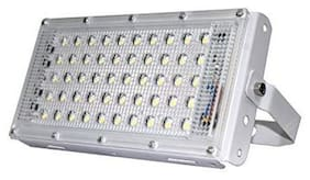 LED World 50 Watt 220-240V Waterproof Landscape IP66 LED Flood Light RGB Multicolour with Remote Metal White Body Crystal
