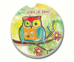 LIFE'S A HOOT, OWL Whimsical 1 Absorbent Auto Car Stone Coaster for Cup Holders