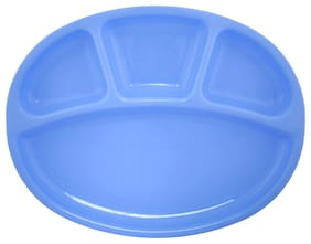 LIFEPLAST Heavy Duty 4 Compartment Divided Dinner Plates Made of Food-Grade Plastic for Daily use (Set of 6;Blue)