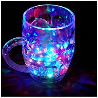 Light Changing Fiber Glass Beer Mug With Inductive Rainbow Color Color Changing Mug, Multi Purpose Use Mug Plastic Coffee Mug 1 Pcs 200 ml