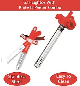 Gas Lighter with Knife & Peeler (Any Color)