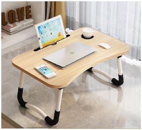 Limerence Multipurpose Foldable Laptop Table with Cup Holder, Study Table, Bed Table, Breakfast Table, Foldable and Portable/Ergonomic & Rounded Edges/Non-Slip Legs (Brown)
