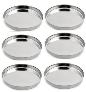 LIMETRO STEEL Stainless Steel Heavy Gauge 6 Pcs Dinner Plates / Lunch Plates / Bhojan Thali ( Size: 13, Diameter: 30 cm, 6 Pieces)
