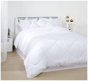 Linenovation Classic 200GSM 5 Star Hotel Microfiber -Duvet/AC Comforter/Quilt - Solid White - Single Size 60 inch X 90 inch