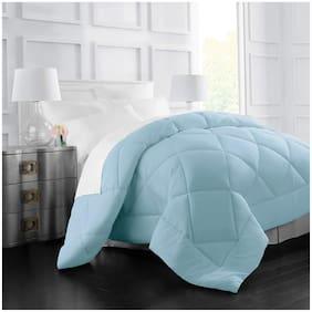 LINENOVATION Cotton Solid Double Size Comforter Blue