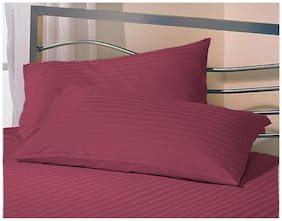 LINENOVATION Cotton Striped Pillow Covers ( Pack of 2 , Pink )