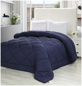 Linenovation Classic 200 GSM Microfiber -Duvet/AC Comforter/Quilt - Dark Blue - King Size 90 Inch X 100 Inch
