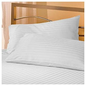 LINENOVATION Cotton Striped Pillow Covers ( Pack of 2 , White )
