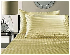 Linenwalas 100% Cotton Sateen Stripes King Size Pillow Cover Set of 2- 50.8 cm (20 inch)  x 91.44 cm (36 inch) - Stripes Ivory