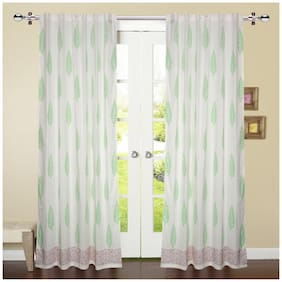 Linenwalas 2 Piece Hand Block Leaf Print with Maroon Border 100% Cotton  Curtain (Set of 2) - White Parrot Green - 5ft
