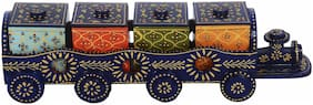 Liolis Decorative Wooden Train Dry Fruit Serving Tray - 4 Boxes