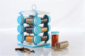 Lion Lender Revolving 12 Jar Spice Rack,Spice Kit,Spice Storage,Masala Storage, Masala Box, Spice Box, Masala Rack, Mouth Freshers Rack,Spice Jar,130 ml Capacity, Blue(pack Of 1)