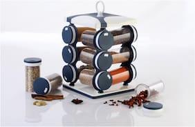 Lion Lender Revolving 12 Jar Spice Rack,Spice Kit,Spice Storage,Masala Storage, Masala Box, Spice Box, Masala Rack, Mouth Freshers Rack,Spice Jar,130 ml Capacity, Grey White (pack Of 1)