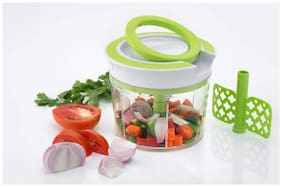 LION LENDER New Handy Jumbo Chopper, Quick Cutter, Vegetable Cutter, Handy Chopper, Triple Blade with Pull Cord Technology(Green,750 ml)