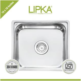 Lipka 304 Grade Stainless Steel Square Bowl Kitchen Sink-16x18x8 Inches