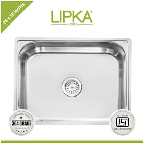 Lipka 304 Grade Stainless Steel Square Bowl Kitchen Sink-24x18x9 Inches