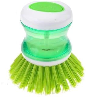 Liquid Brush With Push Button - Soap Dispenser Pot Clean (Pack of 1) Multi Color