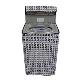 Lithara Abstract Silver Coloured Waterproof & Dustproof Washing Machine Cover For LLOYD TouchWash LWMT75TGS Fully Automatic Top Load 7.5 kg washing machine