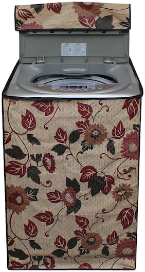 Lithara Beige Color Printed Washing Machine Cover for LG 8 kg Fully-Automatic Top Loading (T9077NEDL1)