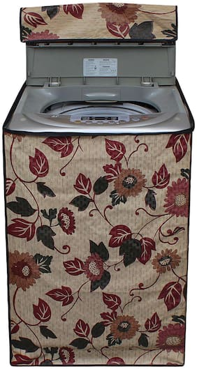 Lithara Beige Color Printed Cover for LG T7567TEELH 6.5Kg Fully Automatic Top Loading Washing Machine