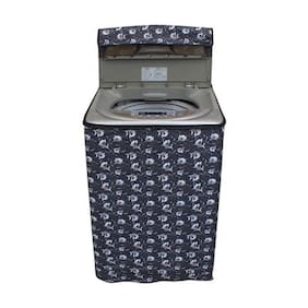 Lithara Floral Grey Coloured Waterproof & Dustproof Washing Machine Cover For MIDEA MWMTL062M3Q Fully Automatic Top Load 6.2 kg washing machine