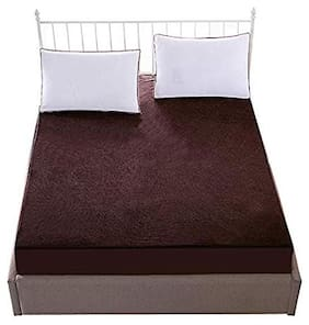 Lithara Waterproof Terry Cotton Mattress Protector Queen Size Coffee Color 66x84x(Skirting 10)