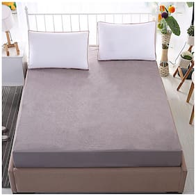 Lithara Waterproof Terry Cotton Mattress Protector;Standard Size 42x78 Grey