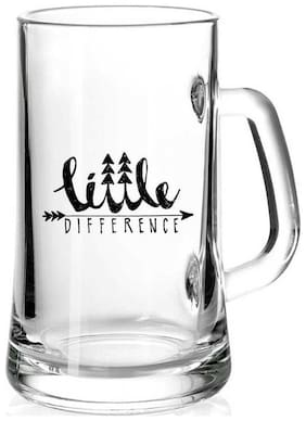 Little Difference White Glass Printed Juice /Milk/ ColdDrinkds &  Beer Mug by Juvixbuy