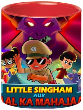 Little Singham Cartoon Red Coffee Mug for Friends/Birthday Gifts for Kids/Return Gifts by Ashvah-Mug-2292-Red