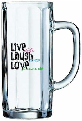 Live Lif Laugh into  Love forever White Glass Printed Juice /Milk/ ColdDrinkds &  Beer Mug by Juvixbuy