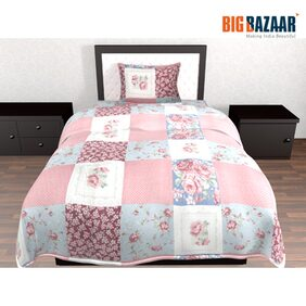 Living Essence Quilted Pink Single Bed Cover 2 PC SET