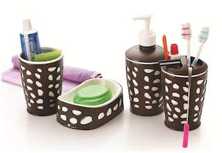 Liza 4 Piece Bathroom Accessories Set - Soap Dispenser;Toothbrush Holder;Soap Dish & Tumbler (A91WB02)