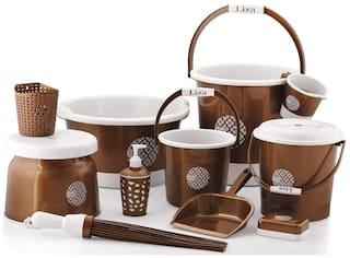 Liza Homace Liza Small Bathroom Plastic Bucket Set (Brown)